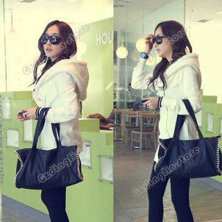 Sleeve Warm Sweater Lady Casual Jacket Coat Outerwear Hoodie 2 Color