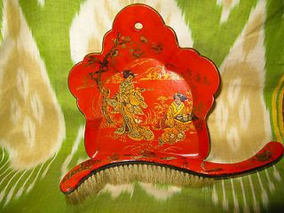 ANTIQUE FRENCH PAPIER MACHE CHINOISERIE MINI CRUMB TRAY SET WITH BRUSH