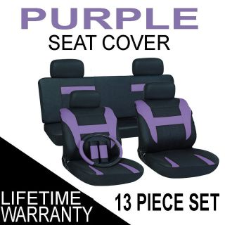 Black Auto Car Seat Cover FREE Steering Wheel Belt Pad Head Rest