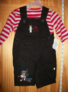NEW Mickey Mouse Overall Outfit BABY Disney Newborn 0 3M Christmas SET