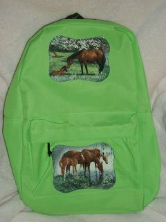 NEW Girls Neon Green HORSE Backpack Horses Glitter  Lots
