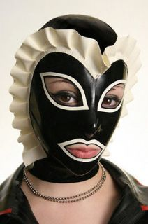 Latex Sissy Maid Hood rubber mask 5 pannel form fitting many sizes