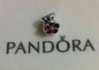 Authentic Pandora Sterling Silver Red Poppy Charm / Bead 790897EN07