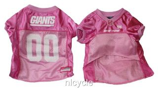 New York GIANTS PINK MESH Pet Dog JERSEY with NFL PATCH XS S M L