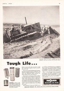 1952 Purolater Micronic Oil Filter Rahway NJ Ad Caterpillar Diesel D7