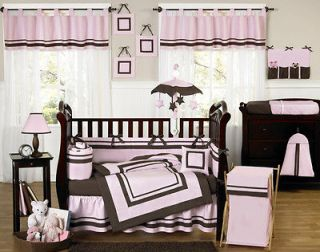 Newly listed MODERN PINK AND BROWN BABY BEDDING CRIB SET FOR NEWBORN