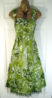 new ex per una green floral summer dress size 10