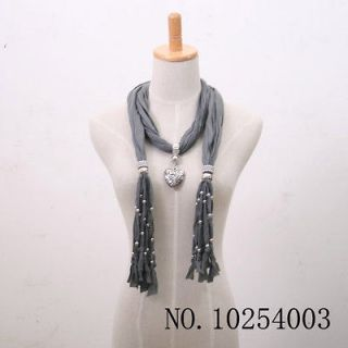 1pcs love heart pendant scarves with jewelry beads Tassels Gray for