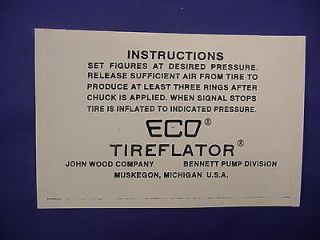 eco 97 98 air meter tireflator instruction decal returns accepted