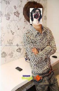 Men Fashion Vintage Slim Fit Leopard Grain Print Long Sleeve Shirt Top