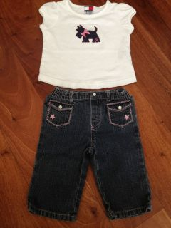 Tommy Hilfiger jeans baby girl 3 6 months old with matching shirt 6 12