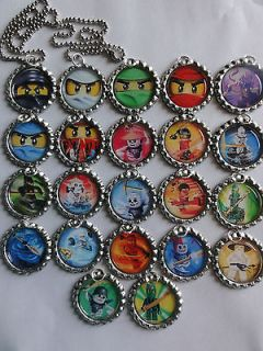 Lego ninjago inspired bottle cap 24 ball chain necklaces party favors