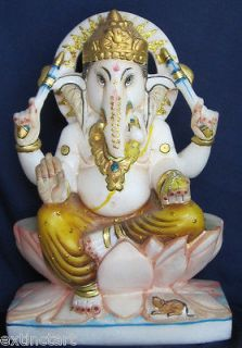 Marble Hindu God Ganesh Statue Peace Prosperity Growth Religious ECL
