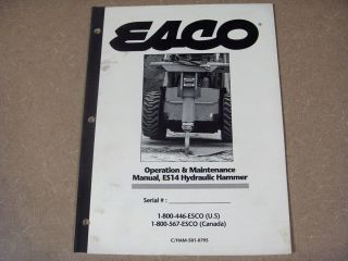 esco es14 hammer owners maintenance service manual