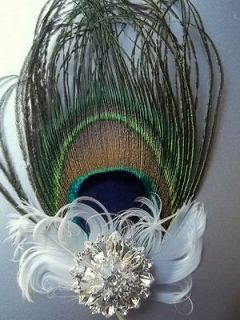 Fascinator  Peacock feather bridal wedding fascinator large crystal