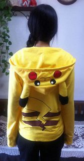 Pikachu Hoodie Anime Pokemon Cosplay Jacket Top Coat Unisex SIZE:S