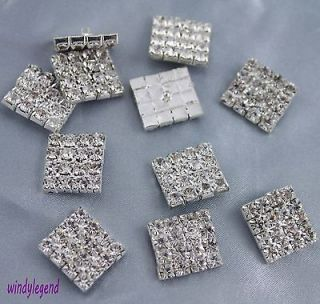 50pcs Sliver Tone Rectangle Clear Rhinestone Crystal Buttons Craft