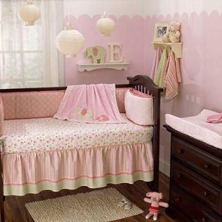 Pink Elephant Cheap Nursery Baby Girl Crib Bedding Set Animal Themed