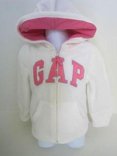 BABY GAP Girls White/Pink Fleece Hoodie Jacket Sizes 18M 5T NWT