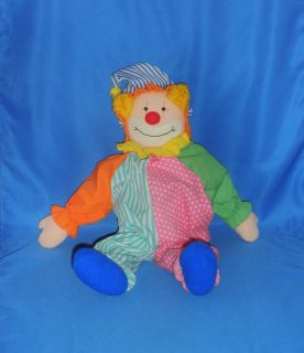 Cloth Clown Rag Doll CHUCKLES Rare Plush Stuffed Animal Vtg Toy #1039
