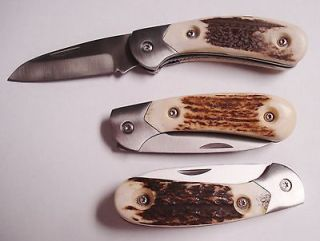 custom stag handle linerlock folder wolverine # s81c time left $ 0 99
