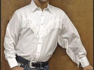 Western Cowboy Shirt   White with White Fringe   SPECIFY SIZE
