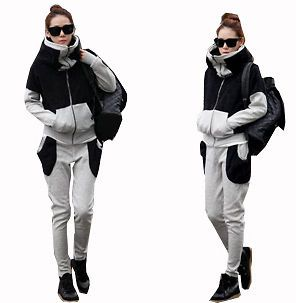 Fall Cool lady Sport Black Gray Turtle Neck TOP Pant sweat Suits 2PC