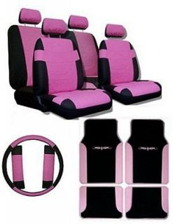 PINK BLK Car Truck SUV Seat Covers Steering wheel cover & Floor Mats