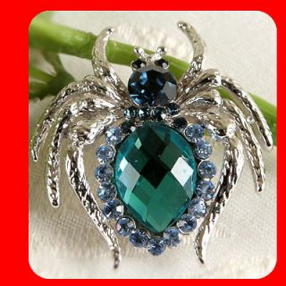 New Spider Brooch pin Beautiful Fashion Jewelry Blue Crystals