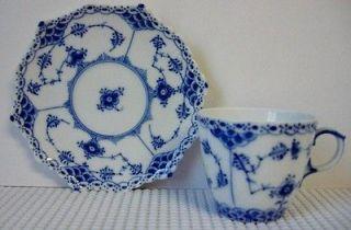 Royal Copenhagen BLUE FLUTED Demitasse Cup Saucer Set (s) FULL LACE