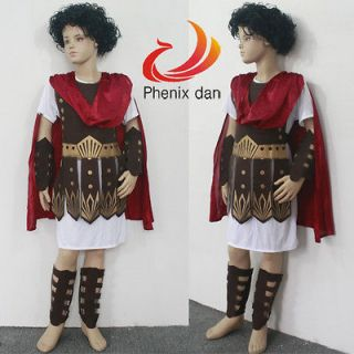 Boys Roman Warrior Soldier Fancy Dress Kids Gladiator Cosplay Costume