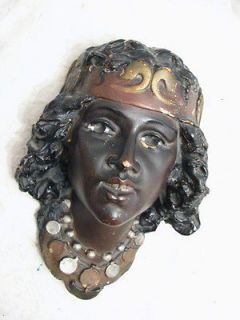 VINTAGE CHALK WARE HEAD BUST FIGURE GYPSY PIRATE NATIVE PLASTER