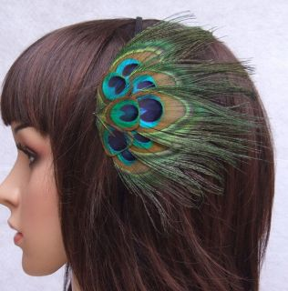 Peacock Eyes Feather Hair Flower Fascinator Headband Hair Band
