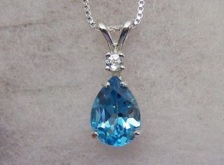 swiss blue topaz pendant necklace box chain ss pear time