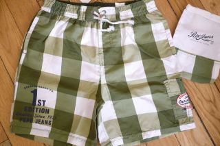 PEPE JEANS LONDON 8 10 12 14 16 YRS GREEN CHECK SWIM SHORTS RRP £25