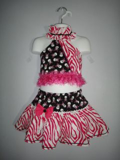 New fusia and white skulls pageant casual wear outfit 24m/2T