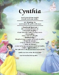 Disney Princess Cinderella Aurora Snow White Personalized Name Meaning