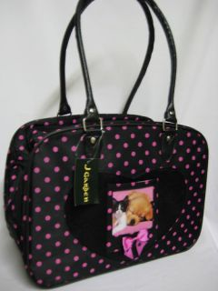 Pet Dog Cat CARRIER Black w/ Pink Polka Dots Travel Totes 16x12x8 Bags
