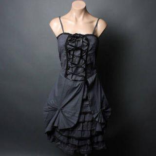 Dark Gray Victorian Petticoat Goth Steampunk Lolita Corset Lace Up