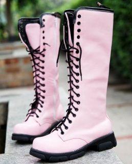 Ladies Black Lace Up Punk Rock Mid Calf Low Heel Military Combat Boots