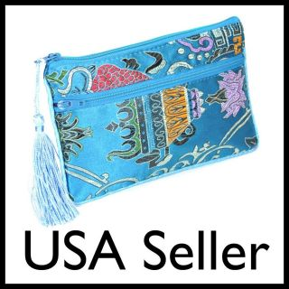 SILK WALLET Zipper Coin Purse Fabric Pouch Bag Case Turquoise Android