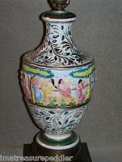 Pierced / Reticulated Large Table Lamp Robed Ladies Dancing