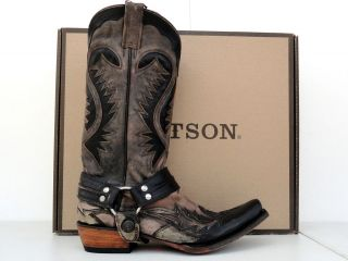 Stetson Cowboy Boots Mens Brown and Bleached Black with Harness