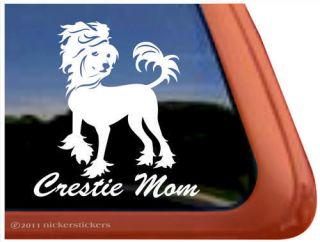 crestie mom chinese crested dog window decal sticker one day