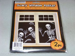 HALLOWEEN Prop Decor SCARY Window COVER Poster SKELETONS ~ 2 piece set