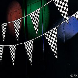 100 CHECKERED FLAG RACING PENNANT BANNER NASCAR RACE CAR BIRTHDAY