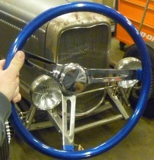 BLUE METALFLAKE STEERING WHEEL RAT HOT ROD CUSTOM BOMB LOWRIDER GASSER