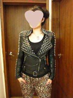 Spike Studded Shoulder PU Snake Leather Black Cropped Coat Jacket