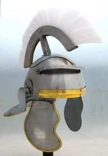 roman officer helmet w white plume bargain