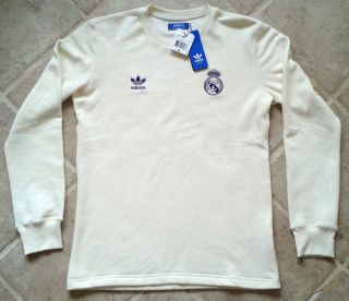 adidas real madrid original retro ls soccer jersey polo shirt sz m l